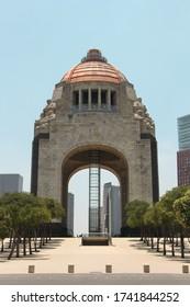 Mexico City, Mexico - May 26, 2020: Revolution Monument (Monumento a la Revolución) in CDMX empty during Covid-19 pandemic quarantine
