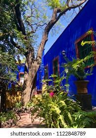 MEXICO CITY, MEXICO - May 27, 2018: Interior garden of the Frida Kahlo's Blue House (La Casa Azul) in Coyoacan, Mexico City.