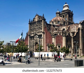 MEXICO CITY, MEXICO - May 29, 2018:The exterior of the Metropolitan Cathedral of the Assumption of the Most Blessed Virgin Mary into Heavens in Zocalo, Mexico City.