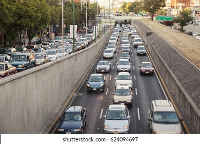 Mexico City, Mexico - May 30, 2012: Cars in high traffic in Viaducto Avenue, at rush hour.