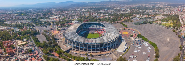 MEXICO CITY - May 30, 2018: Aerial panoramic view of the main Stadium in Mexico City. Sunny and uncrowded afternoon