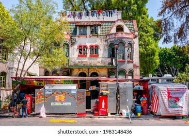 Mexico city, Mexico »; May 31 2021: Mexican fast food stand under a house.