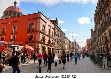 MEXICO CITY, MEX - OCT 27, 2016: Architecture of the historic part of Mexico City, DF, the capital and most populous city of Mexico