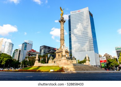 MEXICO CITY, MEX - OCT 27, 2016: The Square of Independance in Mexico City, DF, the capital and most populous city of Mexico