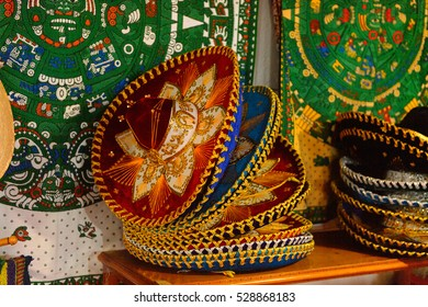 MEXICO CITY, MEX - OCT 27, 2016: Sombreros at a Souvenir shop with the traditional Mexican objects, popular place for the tourists who visit the country