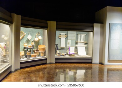 MEXICO CITY, MEX - OCT 27, 2016: Interior of the National Museum of Anthropology (Museo Nacional de Antropologia, MNA), the largest and most visited museum in Mexico
