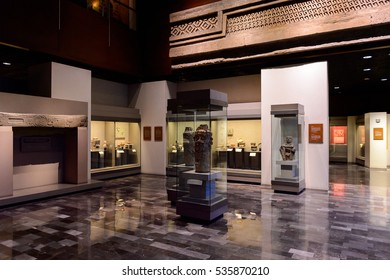 MEXICO CITY, MEX - OCT 27, 2016: Exponates of the National Museum of Anthropology (Museo Nacional de Antropologia, MNA), the largest and most visited museum in Mexico