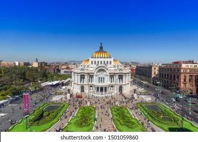 Mexico City, Mexico-2 August, 2019: Landmark Palace of Fine Arts (Palacio de Bellas Artes) in Alameda Central Park near Mexico City Historic Center (Zocalo)