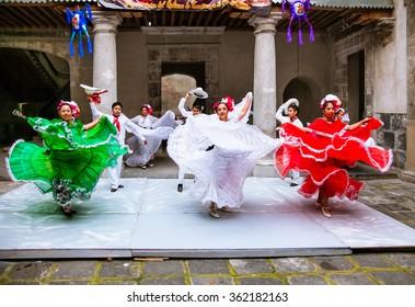 MEXICO CITY, MEXICO-DEC 6, 2015: Mexican folkloric ballet performs in Cultural Centre Zacatecas, Mexico City, on Dec 6. 2015.