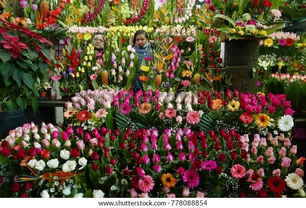 Mexico City, Mexico-December11, 2017: The Flower Market (Mercado de Jamaica) in Mexico City