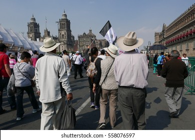 Mexico City, Mexico-January 7, 2017: Protesters march in the streets after and increase in gasoline prices