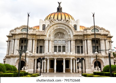 MEXICO CITY - NOV 14, 2017: Palacio de Bellas Artes or Palace of Fine Arts, a famous theater, museum and music venue in Mexico City
