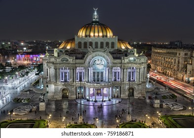 Mexico City, Mexico - November 14, 2016: Beautiful top view of Bellas artes at night, Mexico City, Mexico
