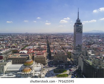 MEXICO CITY - November 14, 2017: Aerial view of the Latin American tower and the famous Palace of Fine Arts in downtown Mexico City