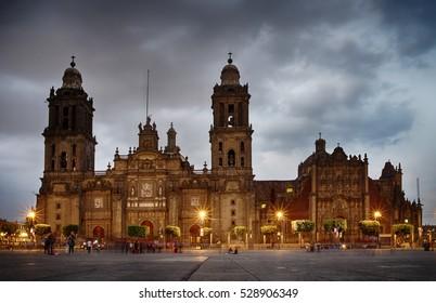 Mexico City, Mexico - November 15, 2016: Cathedral on Zocalo at the dusk, Mexico City, Mexico