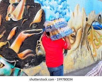 MEXICO CITY, MEXICO - NOVEMBER 16, 2013: Artistic graffiti or street art near Benito Juarez International Airport of Mexico City.