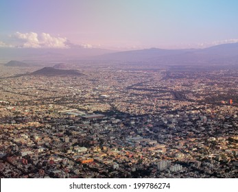 MEXICO CITY, MEXICO - NOVEMBER 16, 2013: View from the sky, the Greater Mexico City has a population of approximately 20 million people.