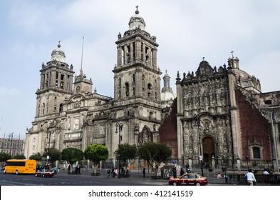 MEXICO CITY, MEXICO - NOVEMBER 2013. Mexico City Metropolitan Cathedral