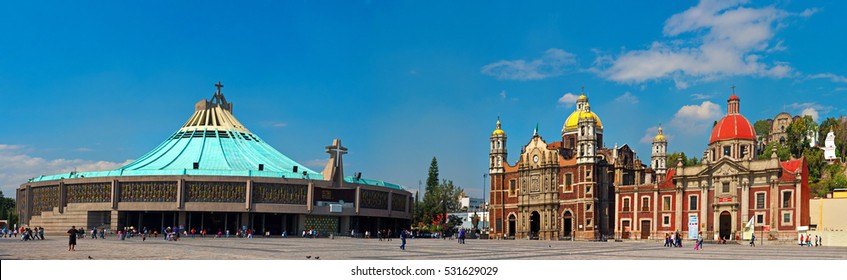 Mexico City, Mexico - November 30, 2016: Panoramic view of Basilica square of Our Lady of Guadalupe in Mexico city