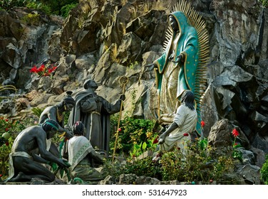 Mexico City, Mexico - November 30, 2016: Monument La Ofrenda in Tepeyac Garden, work of Aurelio G.D. Mendoza - The Virgin Of Guadalupe receives gifts from the native people of Mexico.