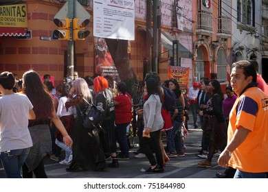 MEXICO CITY, MEXICO - NOVEMBER 5 2017 - Day of  the dead  Spanish Dia de Muertos is a multy day holiday celebrated throughout in Mexico and  United States. Mexican pray for friends and family members.
