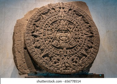 MEXICO CITY, MEXICO - Oct 15, 2016: The Aztec Sunstone at The National Museum of Anthropology (Museo Nacional de Antropologia, MNA) - Mexico City, Mexico