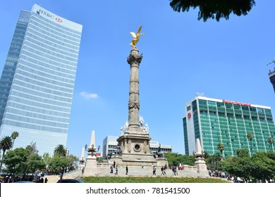 MEXICO CITY, MEXICO - OCT 15TH, 2017: Sculpture of Angel de la Independencia - Angel of Independence - at the Paseo de la Reforma street, in Mexico City, Mexico, on Oct 15th, 2017
