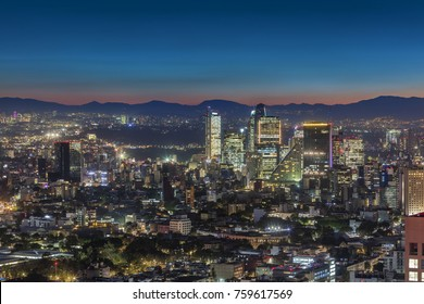 MEXICO CITY - OCT 6, 2017: Night sky over Mexico city's business district