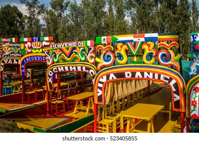 MEXICO CITY, MEXICO - OCTOBER 13, 2016: Colourful Mexican boats at Xochimilco's Floating Gardens