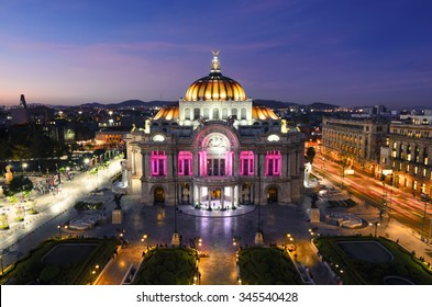 MEXICO CITY, MEXICO - OCTOBER 21, 2015: View to Palacio de Bellas Artes in the nighttime.