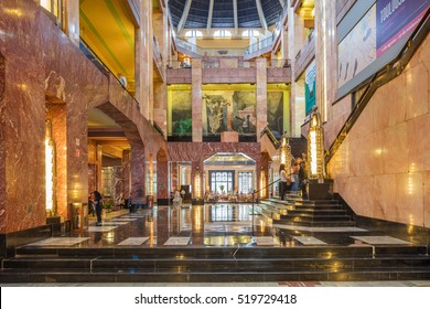 MEXICO CITY, MEXICO - OCTOBER 21, 2016: Interior of the Palacio de Bellas Artes which was planned by Federico Mariscal with the Art Deco style. The building was completely finished in 1934.