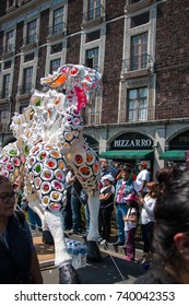 "MEXICO CITY, MEXICO - OCTOBER 21, 2017: annual Alebrije Parade ""La Noche de los Alebrijes"" in honor of Mexican handcraft and folk art, animals inspired by dreams and nightmares"