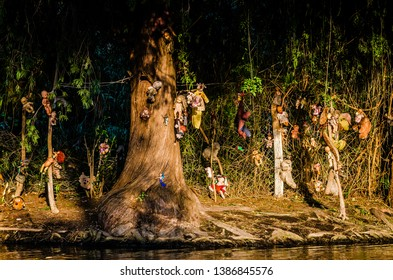 Mexico City, Mexico - October 24, 2018. Xochimilco canals, Island of Dolls