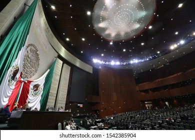 Mexico City, Mexico October 24th 2019. Panoramic view of the session hall of the Chamber of Deputies of Mexico.