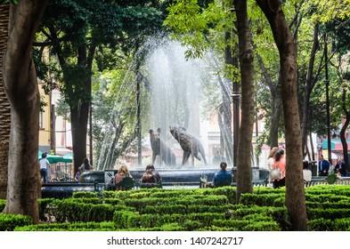 Mexico City, Mexico - October 26, 2018. Coyotes fountain, emblem of coyoacan in Coyoacan Park