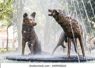 Mexico City, Mexico - October 26, 2018. Detail of coyotes sculpture in fountain, Quarter Coyoacan