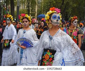 MEXICO CITY - OCTOBER 26, 2019: Day of the dead parade in Paseo de la Reforma avenue, Mexico City