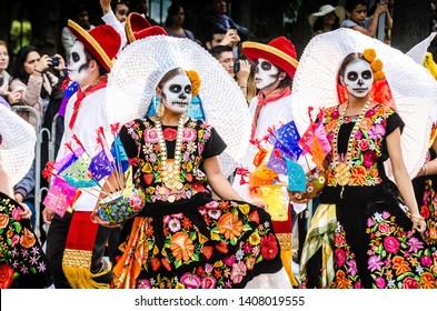 Mexico City, Mexico - October 27, 2018. Celebration of Day of Dead parade, Dia de los Muertos desfile