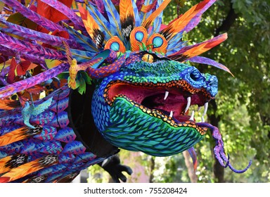 Mexico City - October 28, 2017: Exhibition of Alebrijes on Reforma Avenue. Animals inspired by dreams and nightmares