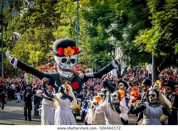 MEXICO CITY, MEXICO - OCTOBER 29, 2016 : Day of the dead parade 2016 in Mexico City