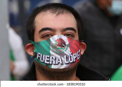 "Mexico City, Mexico October 3rd 2020. Members of the ""FRENA"" organization demanding the removal of Mexican President Andres Manuel Lopez Obrador."