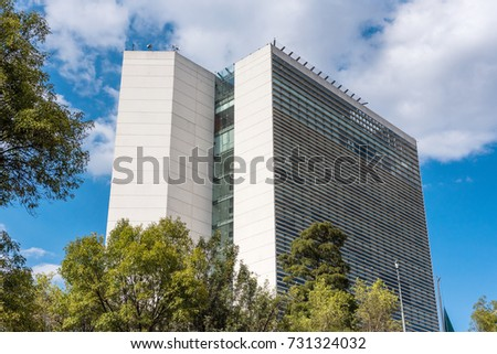 MEXICO CITY, MEXICO - OCTOBER 8, 2017: Senado de la Republica, Mexican Senate facade, located in Paseo de la Reforma Avenue.