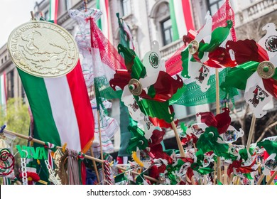 MEXICO CITY - SEP 07 2015: Mexican independence day merchandise in mexico city dowtown.