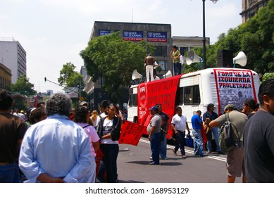 MEXICO CITY - SEP 4, 2008 -  Protesters with red flags,  Leftist demonstration, Mexico City,