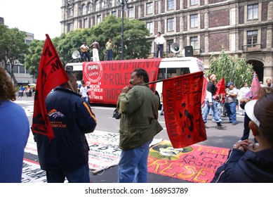 MEXICO CITY - SEP 4, 2008 - Protesters with red flags, Leftist demonstration,Mexico City,