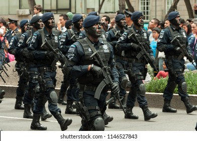 Mexico city / Mexico - Sept 16 2015: Members of the Mexican Armed Forced in the 16 September military parade at Reforma Av. This parade is in honour of the anniversary of Mexican Independence.