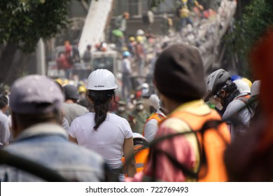 Mexico city, Mexico - September 21Th, 2017: People helping on the streets after Mexico city earthquake