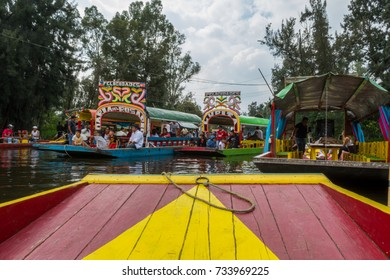 MEXICO CITY – SEPTEMBER 3: Colorful boats, known as trajineras, at Xochimilco canals on September 3, 2017 in Mexico City.