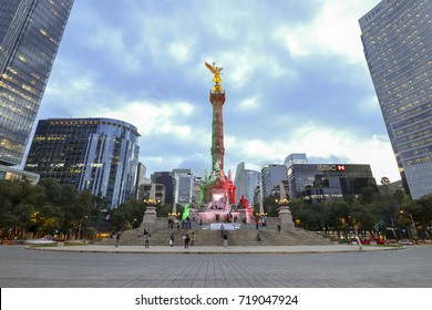 Mexico City, Mexico - September 7, 2017: Monumento a la Independencia, El Angel (Monument to Independence, The Angel) at sunset, in Paseo de la Reforma.