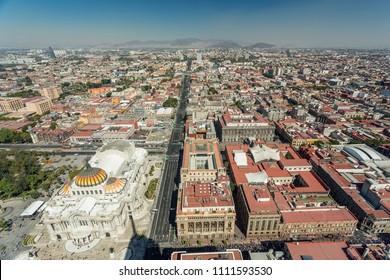 Mexico City skyline aerial view